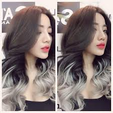 dark brown hair with silver ends brown dark gray