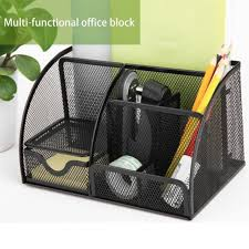 office pen holder. Deli Office Pen Container Small Objects Storage Box Multifunctional Desk Organizer Portable Holder School