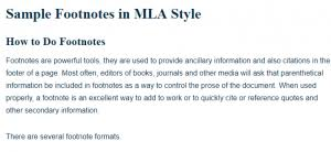 Sample Footnotes In Mla Style A Research Guide For Students