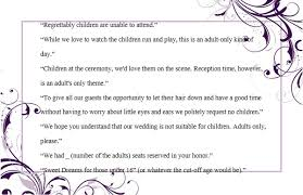 Kids Invitations Wedding Invitation Wording No Children How To And Samples