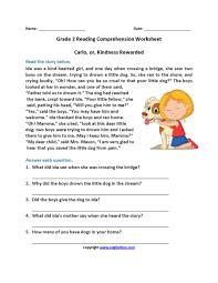 Reading Comprehension Worksheet 2nd Grade. Reading ...