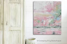 pink white and blue wall art