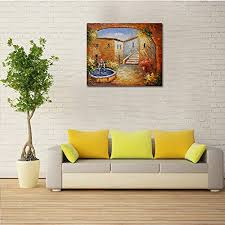 home shop home decor wall art canvas art on mediterranean canvas wall art with canvas painting raybre art 100 hand painted abstract landscape