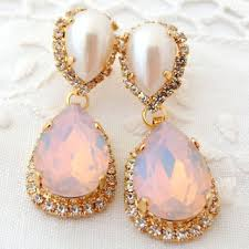 pink opal and pearl chandelier earrings pink white bridal earri
