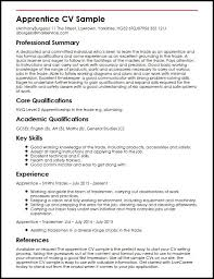 Writing A Curriculum Vitae Cool Apprentice CV Sample MyperfectCV