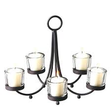 flameless candle chandelier votive metal with 5 clear holders outdoor cand