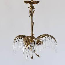 bronze palm frond chandelier w crystal