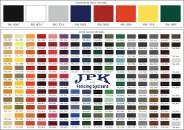 Powder Coat Ral Chart Powder Coating Jpk Fencing Systems Ltd