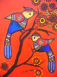 pair of birds acrylic painting printindian folk by madhubanimotifs 22 00