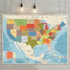 Large Us Map Poster Us 8 86 Usa United States Map Poster Size Wall Decoration Large Map Of The Usa 80x60 In Map From Office School Supplies On Aliexpress