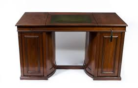 rare antique victorian flame mahogany pedestal desk