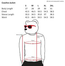 Jacket Length Chart Coaches Jacket Size Chart