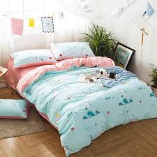 turquoise white teal and blush pink ocean life tropical fish and seahorse heart print kids 100 cotton full queen size bedding sets