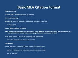 Basic Mla Citation Format One Of The Citation Formats Lesley