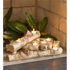 logs hearth candle holder fireplace candelabras