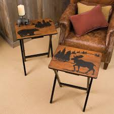 Bear Coffee Table Moose And Bear Tray Tables Set Of 4 Tv Trays Snack Tables