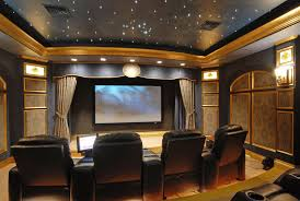 Small Picture Traditional Home Theater with Crown molding Sound absorption