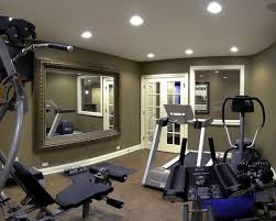 Home Gym Basement Gym Design, Like the French Doors and the funky mirror  for an