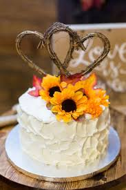 Small Rustic Wedding Cake Hearts Cake Topper Thick Frosting