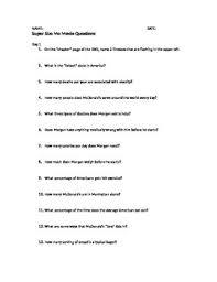 supersize me essay questions supersize me essay ayucar com hd image of supersize me movie discussion questions by rachel franks tpt
