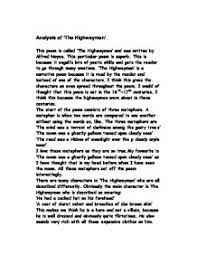analysis of the highwayman gcse english marked by  page 1 zoom in