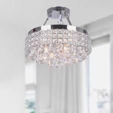 antonia 42 light crystal semi flush mount chandelier with chrome iron