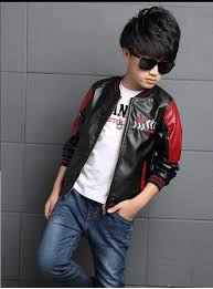fashion teenager motorcycle coats boys leather jackets patchwork children outerwear letter printed boy faux leather jacket