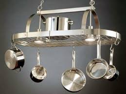 Pot Rack With Lights Home Depot Pots And Pans Rack Cabinet Hanging In Kitchen How To Hang