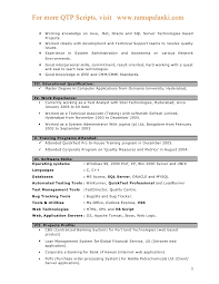 Sample Resume For Qtp Automation Testing Automation Testing Resume
