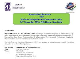 round table discussion with business delegation from houston indo american chamber of commerce