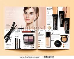 cosmetic magazine template fashion catalogue with cc cream and beautiful model in 3d ilration