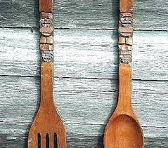 giant wooden spoon and fork large spoon and fork wall decor spoon and fork decor large