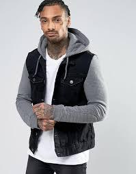 river island au river island denim jacket with grey jersey hoo insert men black