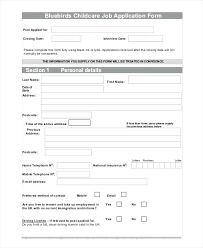 employment applications template child care employment application template