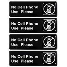 Amazon Com No Cell Phone Use Please 4 Pack Of Signs 9 Inches