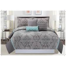 mytex home fashions silver sparkle 6 piece gray and blue king comforter set