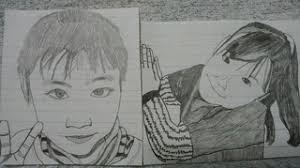 元気な男の子と可愛い女の子とをイメージして鉛筆でイラスト描きました