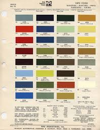 2012 Mustang Color Chart 1972 Mustang Paint Chip Card With Paint Mixing Codes Maine