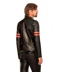 mens studded black red leather biker jacket
