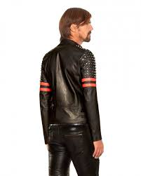 mens studded black red leather biker jacket