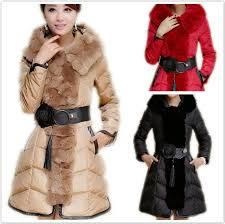 2018 faux fur hooded khaki red black trim belted women long quilted down coat thick warm 2016 best chic winter designer parkas outfit oversize xl from