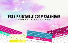 2019 Calendar Printable By Month Free 2019 Monthly Calendar Printable Cute And Colorful Home
