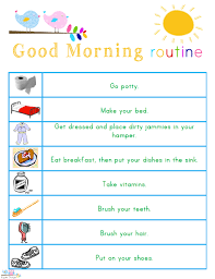 Free Morning Routine Chart Pictures Kids Morning Bedtime And Ready For School Free Printables
