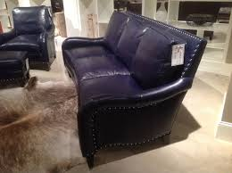 Blue leather sofa at Bradington Young