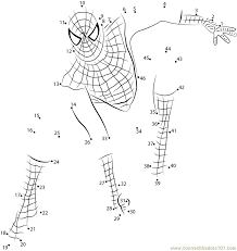 Spiderman Connect The Dots printable worksheets