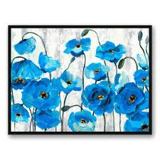 blue poppies on white