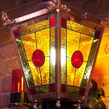 the old veetreo glass studio outdoor stained glass lantern made by veetreo