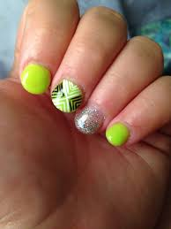 Girly Nail Designs For Short Nails Lime Green Nails Nail Designs Nail Ideas Glitter