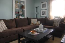 ... Living Room With L Shaped Brown Velvet Sofa And Rectangular Black  Wooden Coffee Table Also Blue Home Decor ...