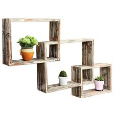 country rustic 3 tier floating box shelves decorative